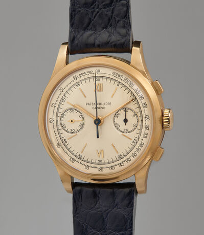 Patek Philippe, 'A very rare, large, and highly attractive yellow gold chronograph wristwatch with tachymeter', 1952