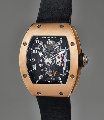 Richard Mille, 'A very rare and exceptional pink gold dual-time tourbillon wristwatch with function selector, power reserve and torque indication, with original guarantee, boxes, and accessories, sold to benefit charity', Circa 2007
