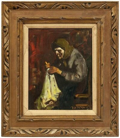 Adolf Adler, 'Bubbe Embroidering, Expressionist Oil Painting', Mid-20th Century