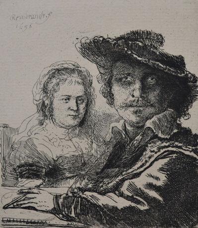 Rembrandt van Rijn, 'Self Portrait with Saskia ', Etched in 1636, Printed in 1906 (Beaumont, Paris)