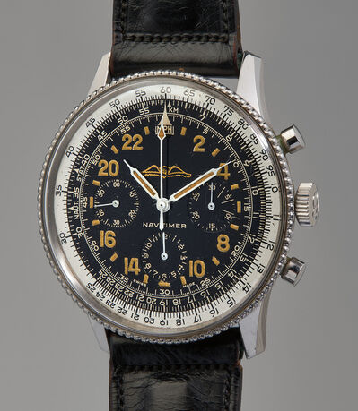 Breitling, 'A very rare, extremely well-preserved, and historically important stainless steel chronograph wristwatch with slide rule bezel and 24-hour black gilt dial', 1962