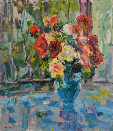 Anatoly Egorovich Zorko, 'Oil painting, original picture of a floral still life of a rose', 2012