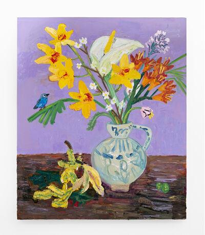 Georgina Gratrix, 'Spring Arrangement with Blue Waxbill and Clivia ', 2020