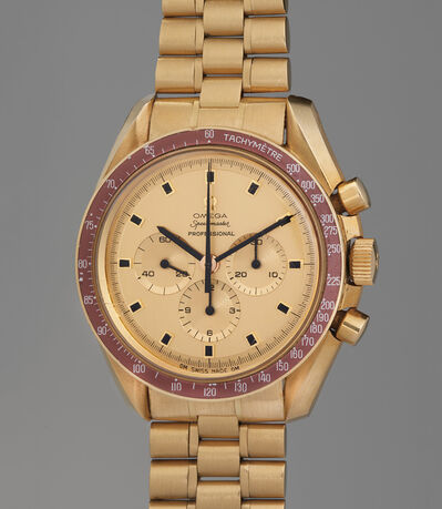OMEGA, 'A rare and highly attractive limited edition yellow gold chronograph wristwatch with burgundy bezel and bracelet, made to commemorate the Apollo XI moon landing, limited edition number 120', 1969