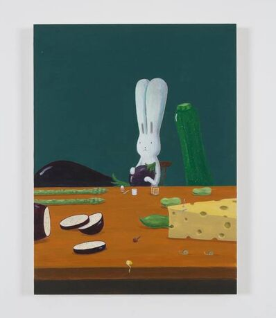 Atsushi Kaga, 'Usacchi having a breakfast with the big aubergine', 2019