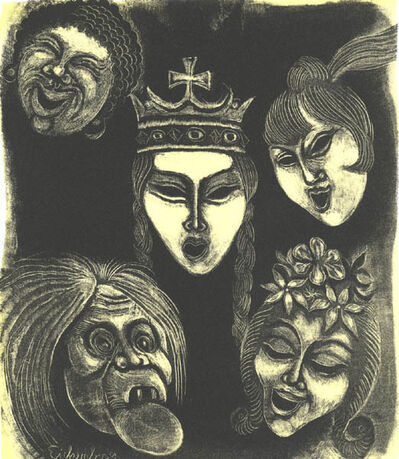 Fritz Eichenberg, 'Masks, set of 2', ca. 1945