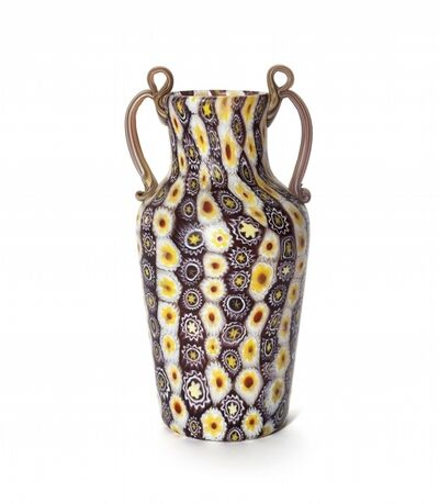 Fratelli Toso, 'A murrine blown glass vase and applied handles', circa 1910