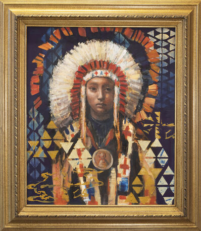 """Rimi Yang, 'Young Chief's Day Dream (after Joseph Henry Sharp painting titled """"Chief Spotted Elk Sioux"""")', 2021"""