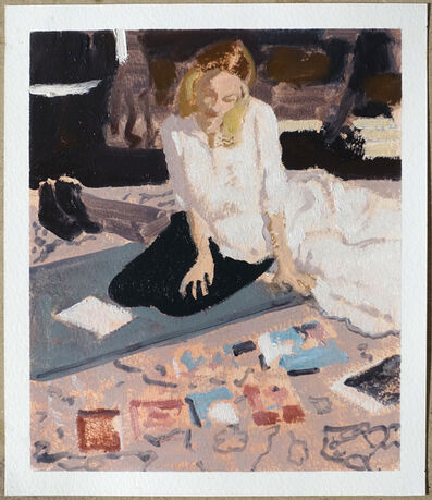 Ian Grose, 'Loulou looking at Doren Langberg on my carpet', 2018