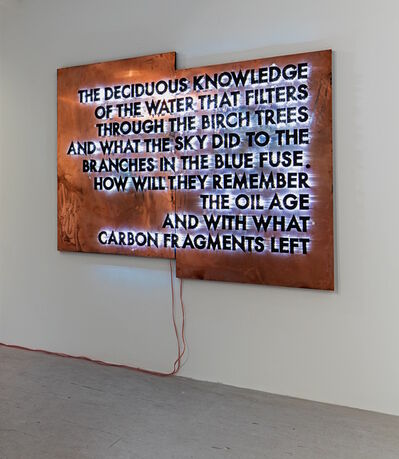 Robert Montgomery, 'The Deciduous Knowledge (Copper Version)', 2016