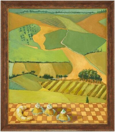 Kathi Packer, 'Untitled Patchwork Landscape with French Pastries Large Painting', 1990-1999