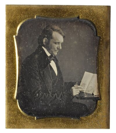 Anonymous American Photographer, 'Inventor with his Patent Drawings', 1850s