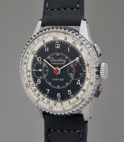 Breitling, 'An early and well preserved stainless steel chronograph wristwatch with circular slide rule', 1942