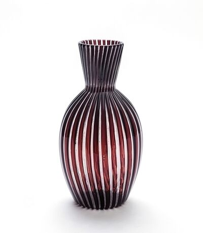 Paolo Venini, 'A glass vase with black and crystal pipes', circa 1950