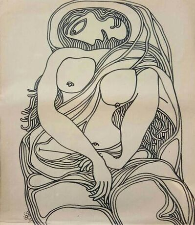"Prokash Karmakar, 'Nude Woman, Drawing, Ink, Marker on Paper by Modern Indian Artist""In Stock""', 1999"
