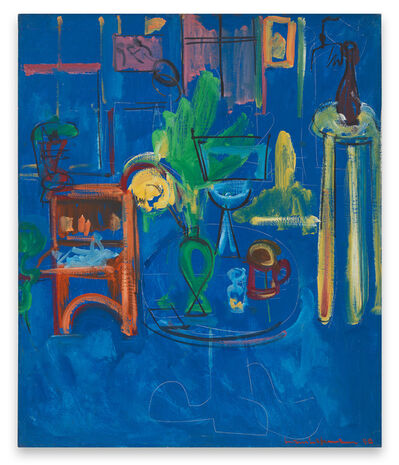 Hans Hofmann, 'Green Vase on Blue', 1940