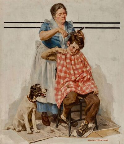Harold Anderson, 'Haircut, Saturday Evening Post Cover', 1933
