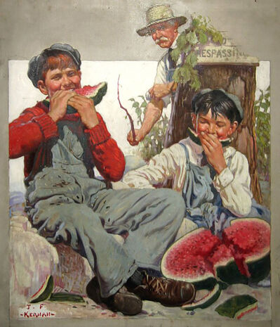 Joseph Francis Kernan, 'Young Boys Trespassing & Eating Watermelon', 1924
