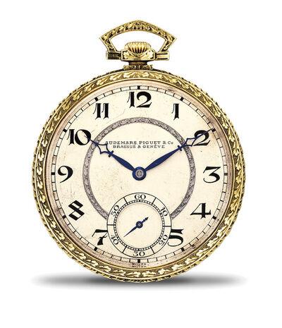 Audemars Piguet, 'An attractive engraved yellow gold open face pocket watch with Art Deco numerals', 1921