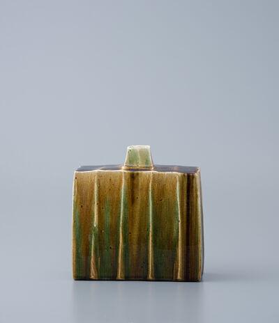 Ken Matsuzaki, 'Rectangular vase, oribe glaze'