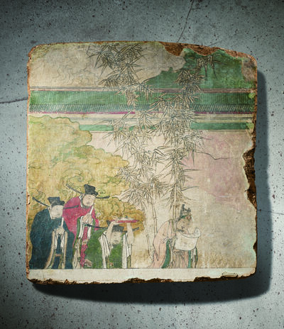 Unknown Chinese, 'A Polychrome Fresco Fragment of Rectangular Form Painted with Four Officials 元晚期 明早期14 15世紀 灰泥彩繪仕人圖壁畫殘部', China: late Yuan early Ming Dynasty-14 15th century