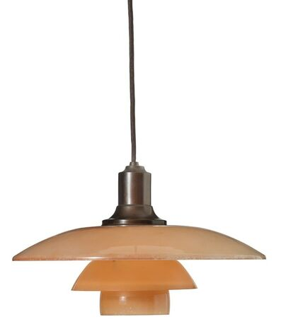 Poul Henningsen, 'PH-3,5/2,5. Pendant with browned metal socket house, mounted with red/frosted glass shades.'