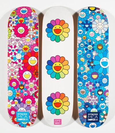 Takashi Murakami, 'Multi Flower 8.0 Skate Decks (Blue, Pink, and White) (three works)', 2017