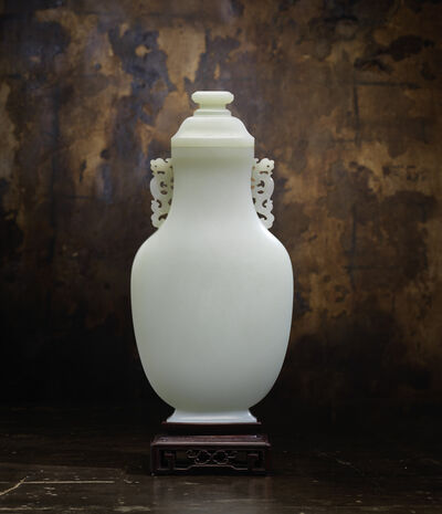 Unknown Chinese, 'Large Pale Celadon Jade Flattened Baluster Vase and Domed Cover', Qianlong (1736-95)