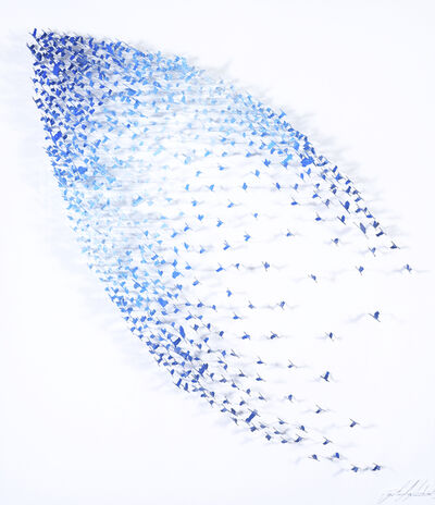 Joel Amit, 'Abstract - Shades Of Blue Birds On White'