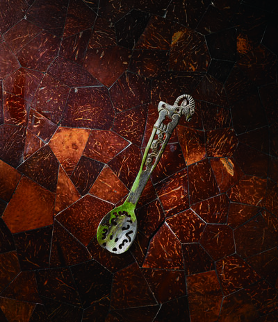 Unknown Artist, 'An Ordos Green-Stained Bone Spoon 鄂爾多斯 公元前3|1世紀 骨鏤雕羊鳥花勺', China: Northern China or Inner Mongolia (3rd | 1st century BCE)