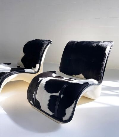 Verner Panton, 'Fiberglass Lounge Chairs in Brazilian Cowhide and Leather, pair', 1969