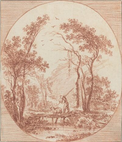 Jean-Baptiste Le Prince, 'A Farmer and a Sheep Crossing a Rustic Bridge'