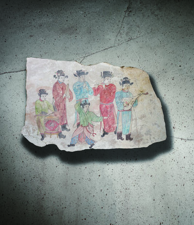 Unknown Chinese, 'A Polychrome Fresco Fragment Painted with Five Musicians and a Dancer 遼10世紀 灰泥彩繪樂手舞者圖壁畫殘部', China: Liao Dynasty-10th century