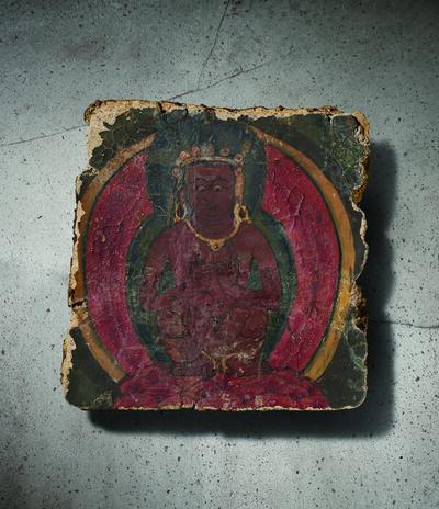 Unknown Tibetan, 'A Polychrome Fresco Fragment of Rectangular Form Painted with Mahasiddha Seated Cross-legged 西藏13|14世紀 灰泥彩繪彌勒菩薩圖壁畫殘部', Tibet: 13|14th century