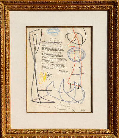 Joan Miró, 'For Joan Miro (Drawing with Ruthven Todd Poem)', 1966-1970