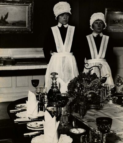 Bill Brandt, 'Parlourmaid and Under-Parlourmaid Ready to Serve Dinner', c. 1934