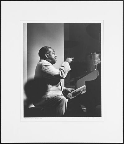 "Herman Leonard, '""Count Basie, New Orleans Music Festival, 1955"", ""Sarah Vaughan, New York, 1950"", ""Billy Bauer, Charlie Parker, Eddie Safranski, Lennie Tristano, New York, 1949"", ""Billie Holiday, New York, 1955"" And ""Lester Young, Paris, 1959""'"