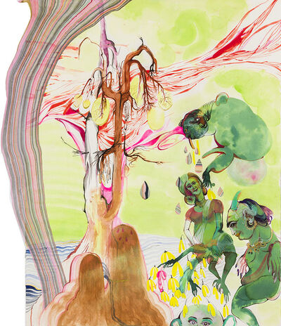 Rina Banerjee, 'The gene was his mule, Mendel with his peas in the monastery in thick garden made variety, made mischief while green ponds, unripe flower took to crossing, blended fluids so dominant was recessive', 2014