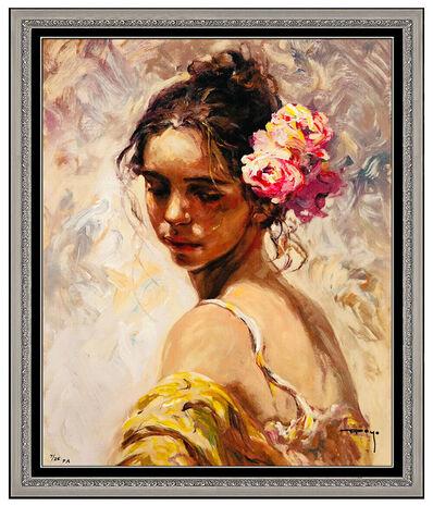 Jose Royo, 'Jose Royo Original Color Serigraph on Board Female Portrait Signed La Perla Art', 20th Century