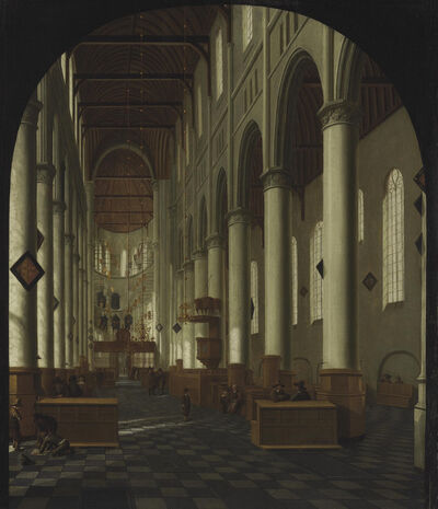 Hendrick Cornelisz. van Vliet, 'A view of the interior of the New Church, Delft, in a painted arch'