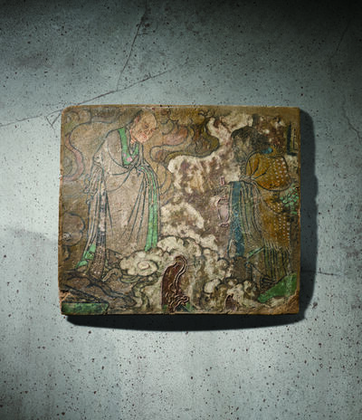 Unknown Chinese, 'A Polychrome Fresco Fragment of Rectangular Form Painted with an Immortal 元14世紀 灰泥彩繪仙人會胡人圖壁畫殘部', China: Yuan Dynasty-14th century