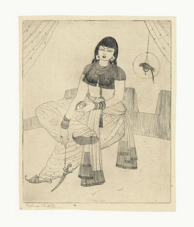 Abdur Rahman Chughtai, 'Untitled (Lady with Caged Parrot)'