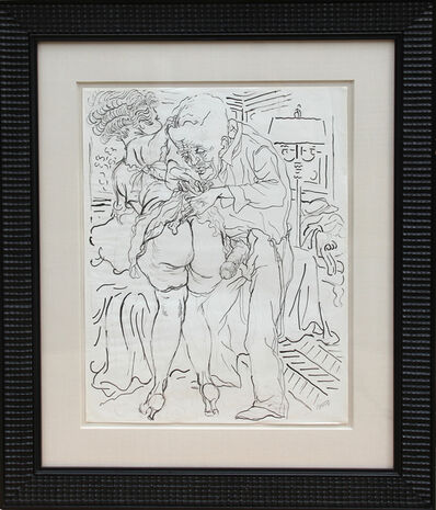 George Grosz, 'Untitled - man and Woman with Lamp (Erotic)', ca. 1940