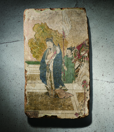 Unknown Chinese, 'A Polychrome Fresco Fragment of Rectangular Form Painted with a Scholar on a Terrace 元晚期 明早期14 15世紀 灰泥彩繪文人與侍者圖壁畫殘部', China: late Yuan early Ming Dynasty-14 15th century