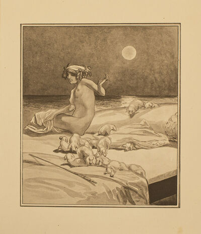 Franz von Bayros, 'Kirke und die Ferkel (Kirke and the piglets)', 1914