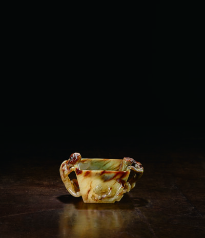 Unknown Artist, 'A Mottled Celadon and Deep Russet Jade Two-handled Cup of Square Form 宋|元 11|13世紀 褐青雙螭龍把方形玉杯', China: Song|Yuan Dynasty-11th|13th century
