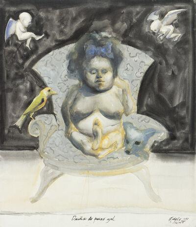 Roberto Fabelo, 'Dueña de perro azul', 1990