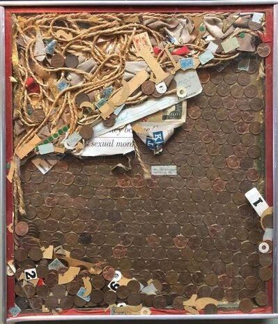 William R. Christopher, 'Assemblage Collage Painting/Sculpture with Pennies and Scrap Civil Rights Artist', 1960-1969