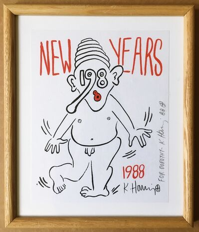 Keith Haring, 'New Years (Nude) Signed and inscribed to Dorothy Berenson Blau', 1988
