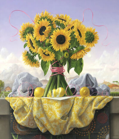 James Aponovich, 'Still life with Sunflowers, Lemons and Plums', 2021
